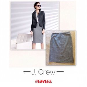 J. Crew Gray Wool Pencil Skirt, New Without Tags